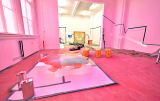 'Everything Was in Ajar', (RE: Discovery) mixed media installation (pink side)